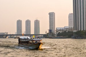 Cruising the Chao Praya River, Bangkok.